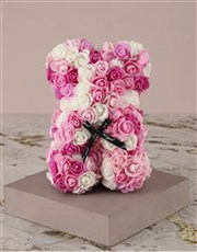Pink and White Foam Rose Teddy in Case
