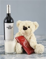 Cream Teddy and Chocolate Block Hamper