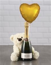 Cream Teddy And Gold Balloon Hamper