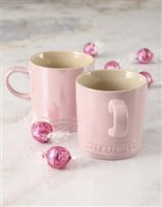Pink Le Creuset Mugs and Chocolate
