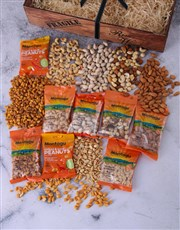 A wooden crate containing 800g of assorted nuts. S