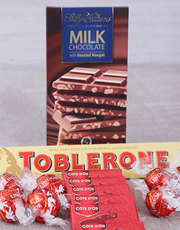 A chocolate gift box filled with premium chocolate