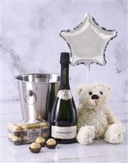 A bottle of Pongracz Classique champagne in a stai