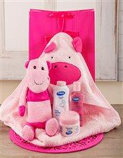 Baby Girl Hippo Bath Time Set