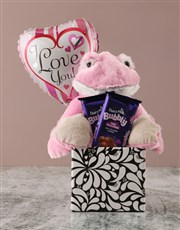 Show your love with an adorable pink frog teddy, B