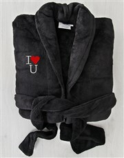 I Heart U Black Fleece Gown