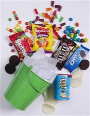Green Bucket of Sweet Treats