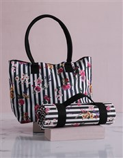 Floral Sriped Tote Bag With Mat