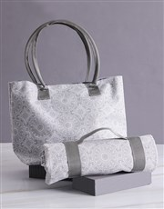 Black Damask Bag With Mat