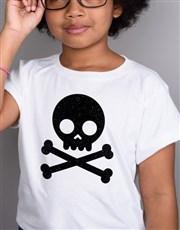 Glitter Skull Kids T Shirt