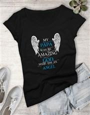 God Made Him An Angel Ladies Shirt
