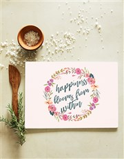 Happiness Blooms Glass Chopping Board