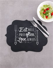 Eat Well Chalk Board Placemat