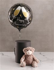 Anniversary Balloon With Teddy Bear In Hat Box
