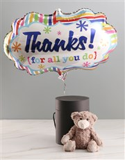 Thank You Balloon With Teddy Bear In Hat Box