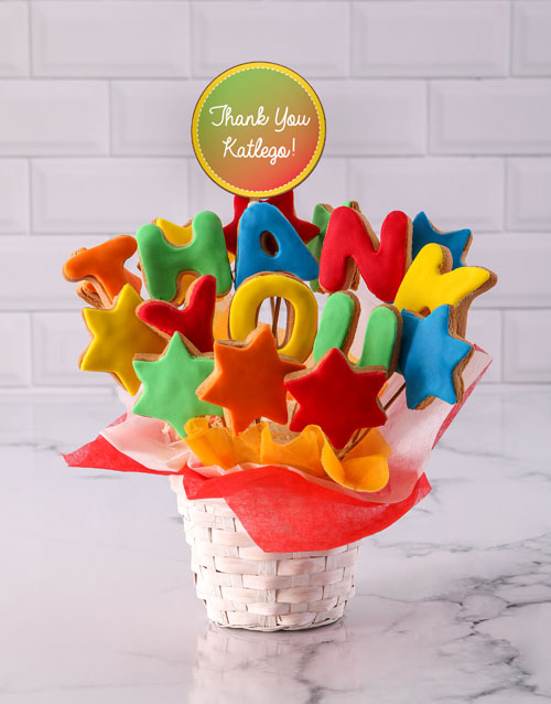cookies-and-biscuits: Personalised Thank You Cookie Bouquet!