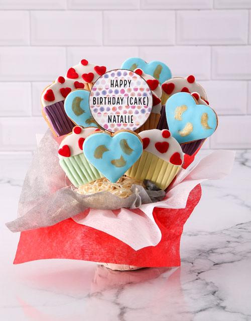 birthday: Personalised Birthday Cupcake Cookie Bouquet!