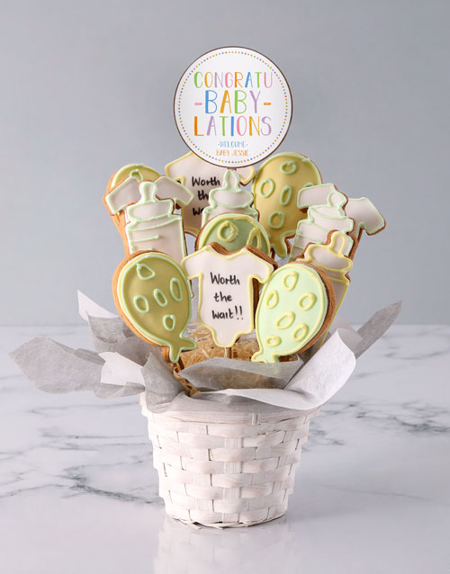 cookies-and-biscuits: Personalised A Baby Is Born Cookie Bouquet!