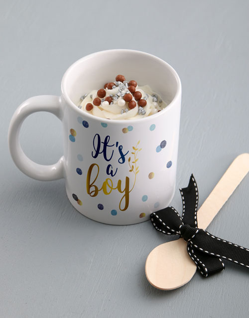 baby: Its A Boy Cake In A Mug!