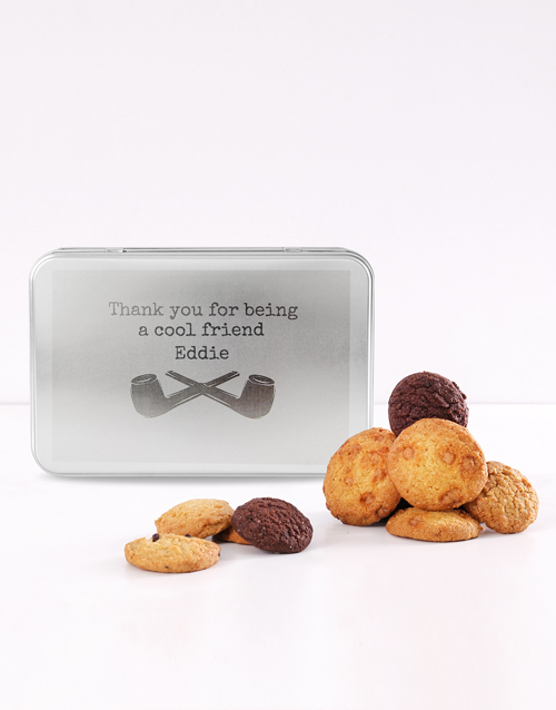 bakery: Personalised Pipes Thank You For Being Cookie Tin!