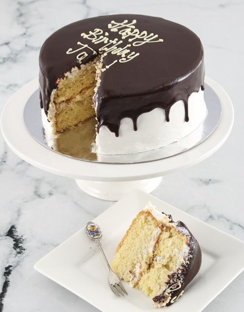 birthday: Personalised Message Vanilla Drip Cake !