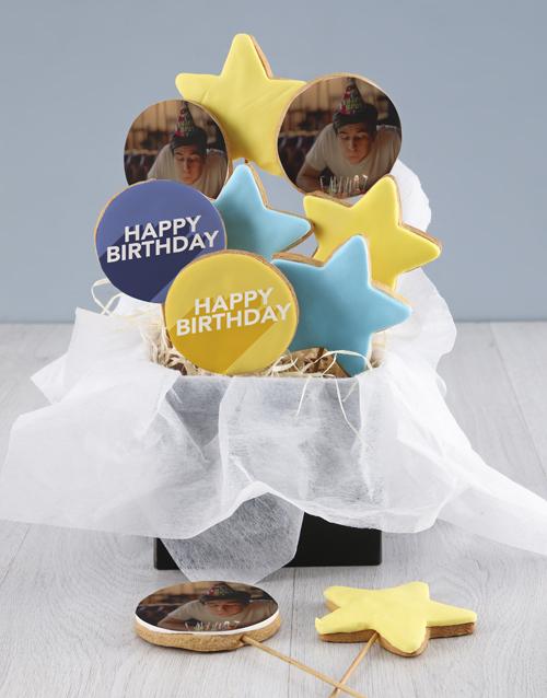 birthday: Personalised Birthday Blue Cookie Bouquet!