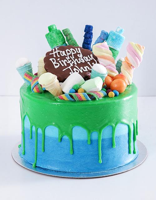 bakery: Personalised Blue Magic Drip Cake!