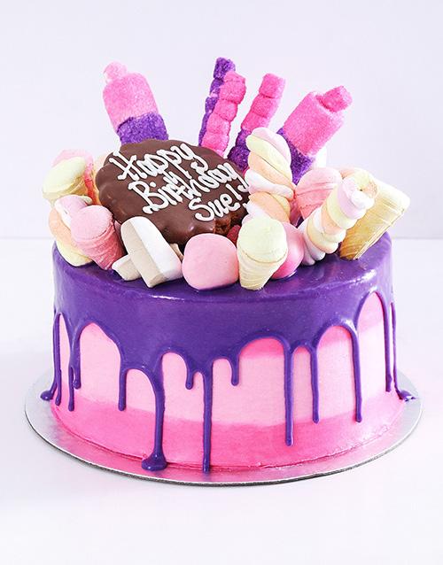 personalised: Personalised Pink Popping Drip Cake!