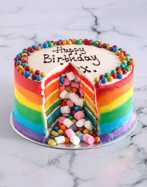 birthday: Rainbow Pinata Cake!