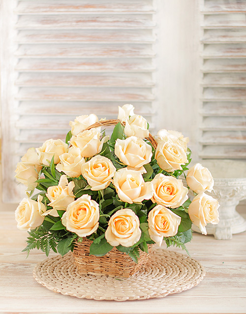friendship: Cream Roses in a Woven Basket!