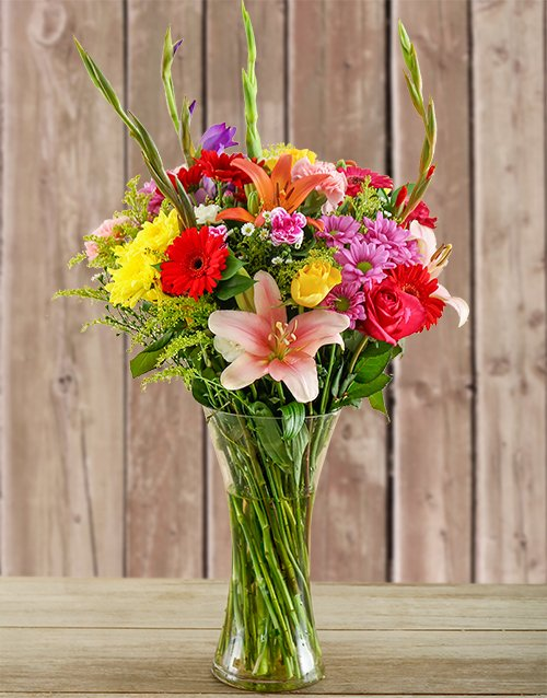 bosses-day: Glass Vase of Colourful Flowers!