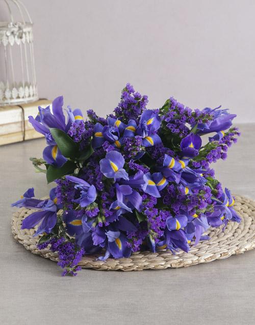 colour: Dazzling Blue Iris Bouquet!