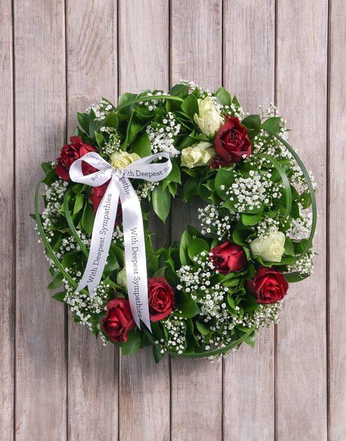 sympathy: Condolences Red and White Rose Funeral Wreath!