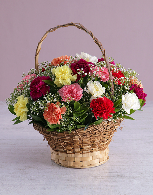 flowers: Carnation Wicker Basket !