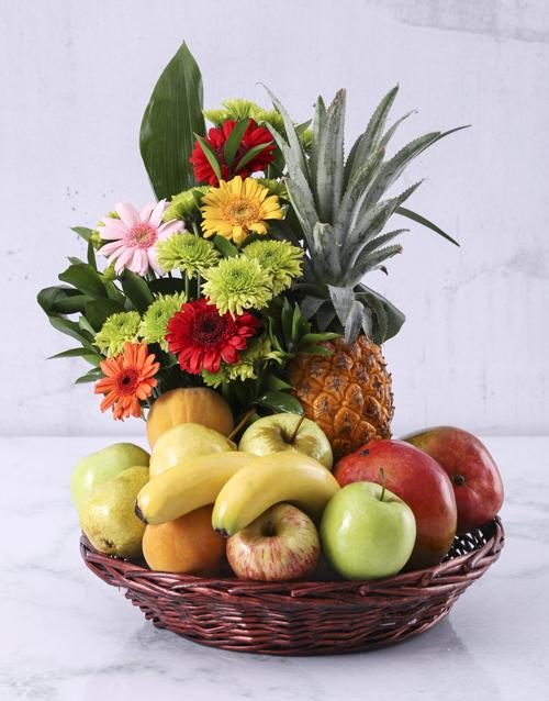 birthday: Flower and Fresh Fruit Basket!