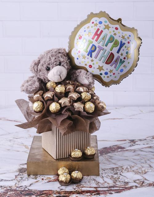 chocolate: Balloon and Choc Plush Toy Birthday Hamper!