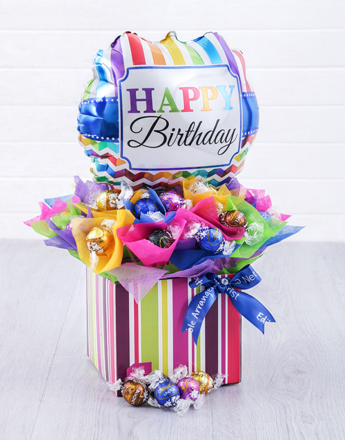edible-chocolate-arrangements: Birthday Balloon Lindt Edible Arrangement!