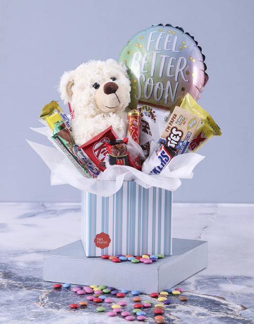 edible-chocolate-arrangements: Get Well Teddy and Chocolate Box!