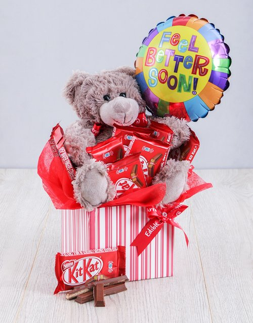 edible-chocolate-arrangements: Get Well Kit Kat and Teddy Box!