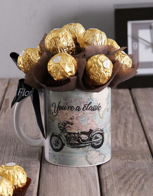 fathers-day: Ferrero and Motorbike Arrangement in Mug!