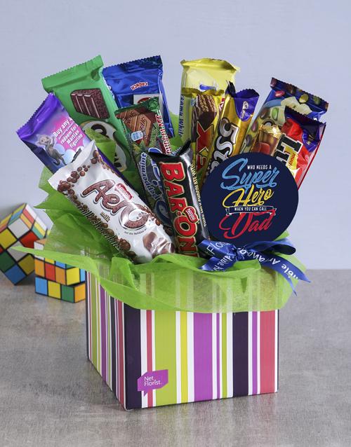 edible-arrangments: Superhero Chocolate Box for Dad!