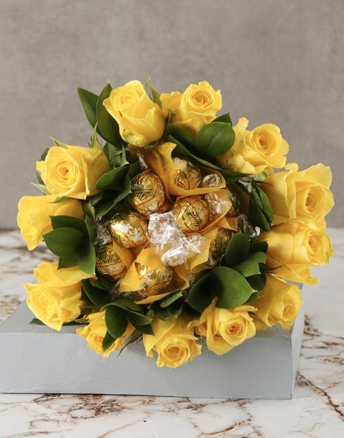luxury: Yellow Rosy Chocolate Arrangement!