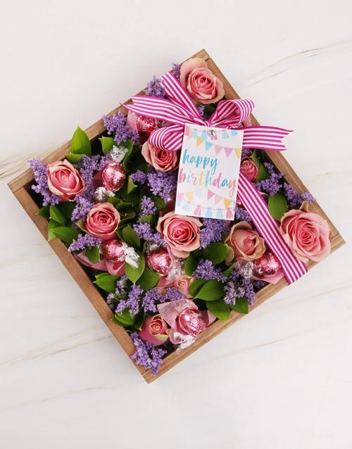 edible-arrangments: Pink Happy Birthday Rose Arrangement!