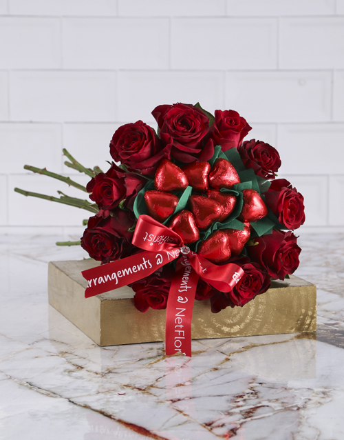 chocolate: Red Rose Heart Choc Bouquet!