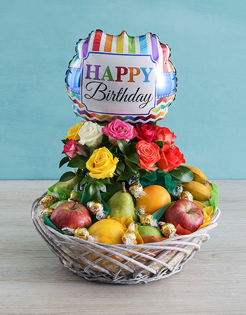 flowers: Happy Birthday Rose and Fruit Basket!