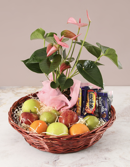 get-well: Pink Anthurium and Munchies Basket!