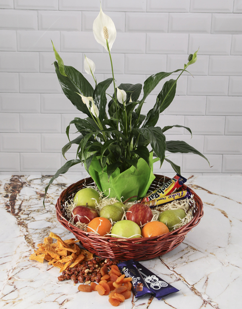 basket: Gourmet Peace Lily Basket!