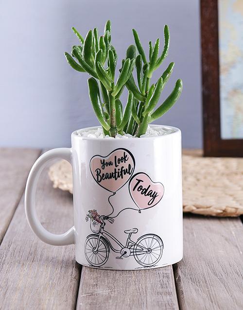 friendship: You look Beautiful Succulent Mug!