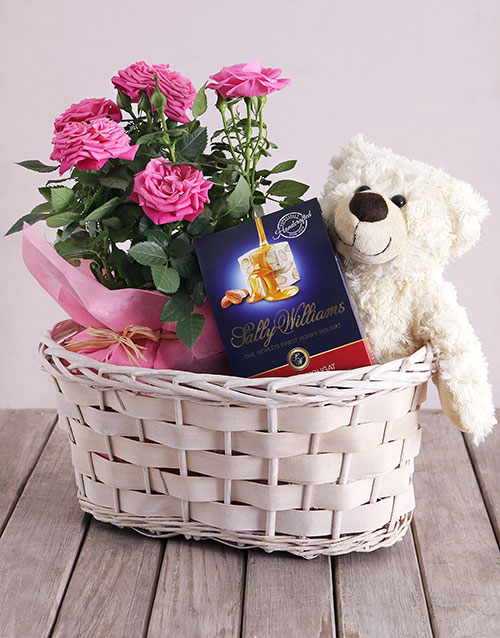 baskets: Roses and Cuddles Gift Basket!