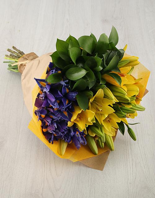 bouquets: Iris and Lily Arrangement!